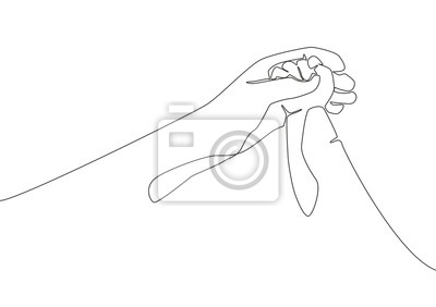 One line drawing of father giving hand to his child. Mother care in continuous line drawing design style. Parental concept vector illustration
