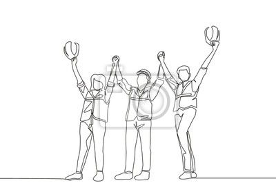 One line drawing of young architect woman and builder wearing construction vest fist their hands up the air to celebrate a project deal. Great teamwork concept - continuous line drawing