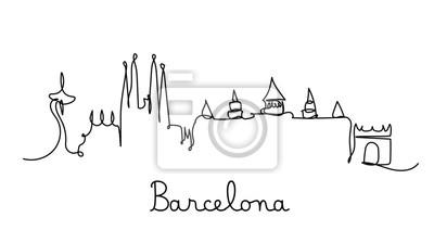 One line style Barcelona city skyline. Simple modern minimaistic style vector.