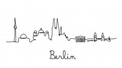 One line style Berlin City skyline. Simple modern minimaistic style vector.