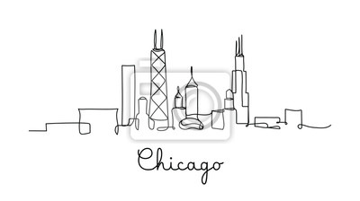 One line style Chicago City skyline. Simple modern minimaistic style vector.
