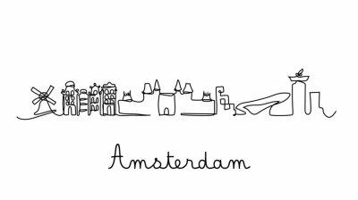 One line style  city skyline. Simple modern minimaistic style vector.