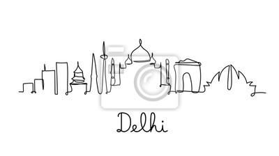 One line style Delhi city skyline. Simple modern minimaistic style vector.