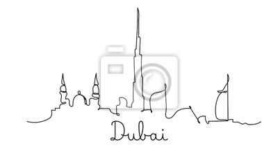 One line style Dubai city skyline. Simple modern minimaistic style vector.