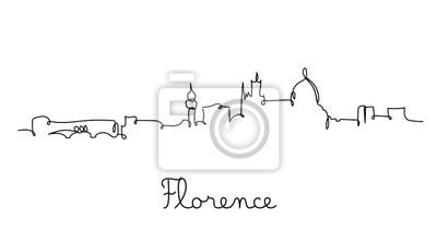 One line style Florence city skyline. Simple modern minimaistic style vector.