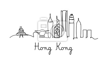 One line style Hong kong city skyline. Simple modern minimalistic style vector.