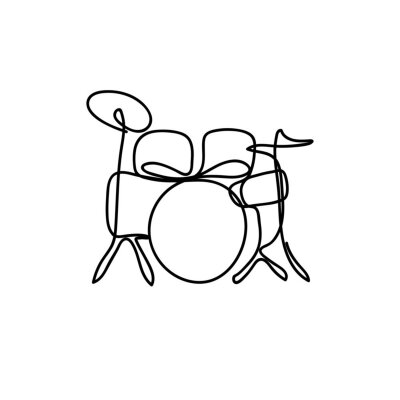One line style illustration drum kit instrument - Modern and minimalism style vector