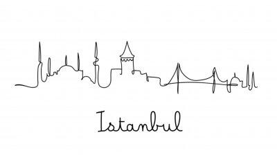 One line style Istanbul city skyline. Simple modern minimaistic style vector.