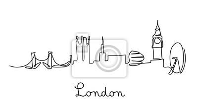 One line style London city skyline. Simple modern minimalistic style vector.