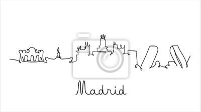 One line style Madrid city skyline. Simple modern minimaistic style vector.