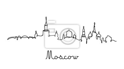 One line style Moscow city skyline. Simple modern minimalistic style vector.