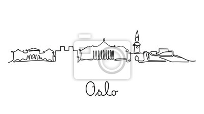 One line style Oslo city skyline. Simple modern minimaistic style vector.