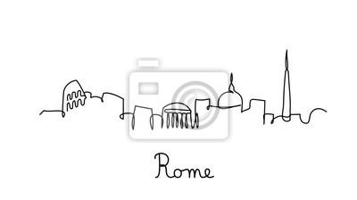 One line style Rome city skyline. Simple modern minimaistic style vector.