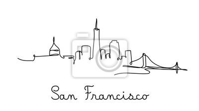 One line style san francisco city skyline. Simple modern minimaistic style vector.