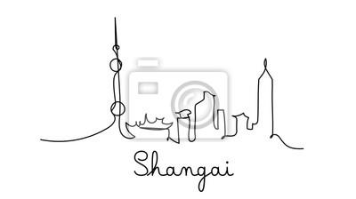 One line style Shangai city skyline. Simple modern minimaistic style vector.