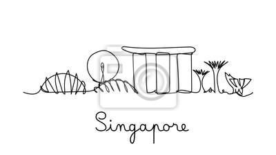 One line style Singapore city skyline. Simple modern minimalistic style vector.