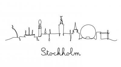 One line style Stockholm city skyline. Simple modern minimaistic style vector.