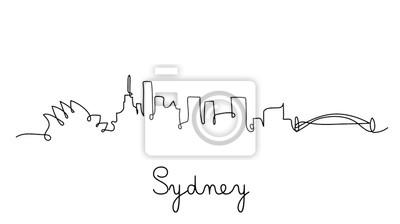 One line style sydney city skyline. Simple modern minimalistic style vector.