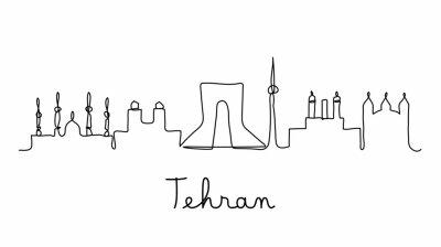 One line style Tehran city skyline. Simple modern minimaistic style vector.
