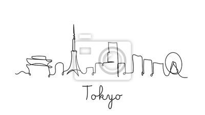 One line style Tokyo city skyline. Simple modern minimalistic style vector.