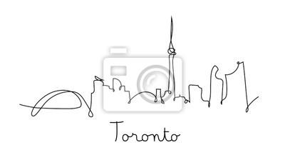 One line style Toronto city skyline. Simple modern minimaistic style vector.