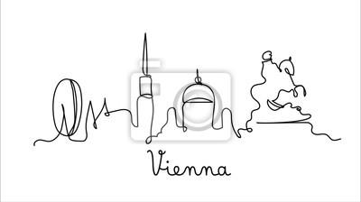 One line style Vienna city skyline. Simple modern minimalistic style vector.