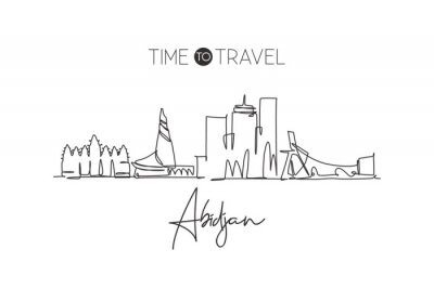 One single line drawing Abidjan city skyline, Ivory Coast. Historical town landscape in world postcard. Best holiday destination. Editable stroke trendy continuous line draw design vector illustration