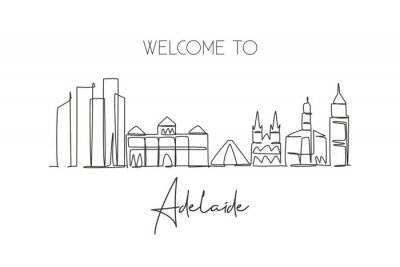 One single line drawing Adelaide city skyline, Australia. Historical town landscape. Best holiday destination home wall decor poster print art. Trendy continuous line draw design vector illustration