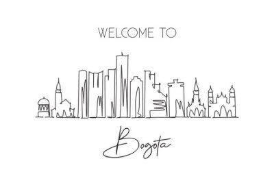 One single line drawing Bogota city skyline, Colombia. World historical town landscape postcard. Best holiday place destination. Editable stroke trendy continuous line draw design vector illustration