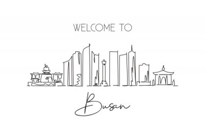 One single line drawing Busan city skyline, South Korea. World town landscape home decor poster print wall art. Best place holiday destination. Trendy continuous line draw design vector illustration