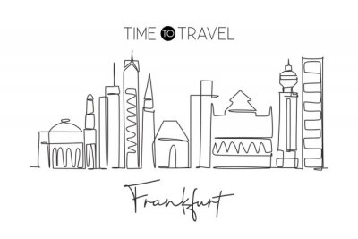 One single line drawing Frankfurt city skyline, Germany. Historical skyscraper landscape in world. Best holiday wall decor poster destination. Trendy continuous line draw design vector illustration