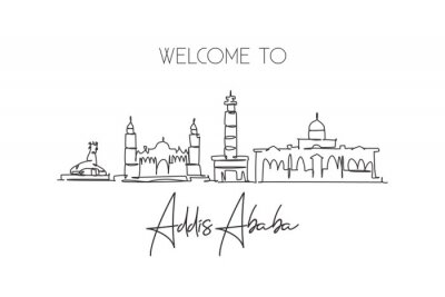 One single line drawing of Addis Ababa city skyline, Ethiopia. Historical town landscape home wall decor poster print. Best holiday destination. Trendy continuous line draw design vector illustration
