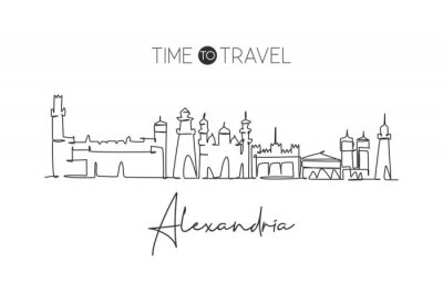 One single line drawing of Alexandria city skyline, Egypt. Historical town landscape home wall decor poster print art. Best holiday destination. Trendy continuous line draw design vector illustration