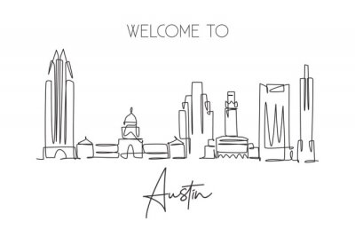 One single line drawing of Austin city skyline, United States. Historical town landscape in the world. Best holiday destination. Editable stroke trendy continuous line draw design vector illustration