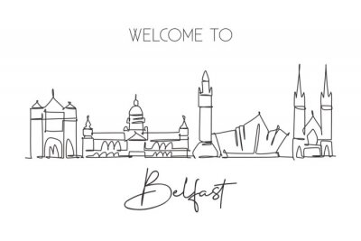 One single line drawing of Belfast city skyline, Northern Ireland. Historical landscape in the world. Best holiday destination. Editable stroke trendy continuous line draw design vector illustration