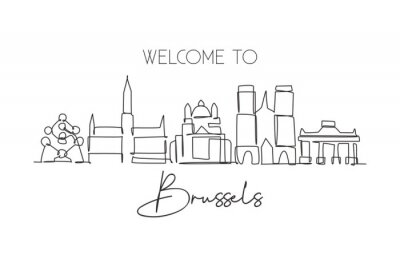 One single line drawing of Brussels city skyline, Belgium. Historical skyscraper landscape in world. Best holiday destination home wall decor. Trendy continuous line draw design vector illustration