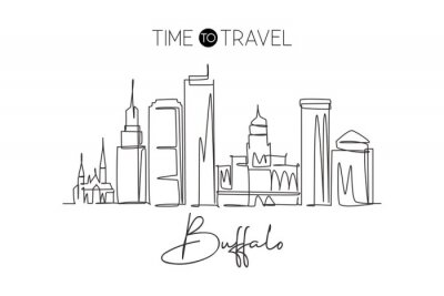 One single line drawing of Buffalo city skyline, United States. Historical town landscape in the world. Best holiday destination. Editable stroke trendy continuous line draw design vector illustration