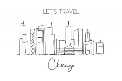 One single line drawing of Chicago city skyline, United States. Historical town landscape in the world. Best holiday destination. Editable stroke trendy continuous line draw design vector illustration