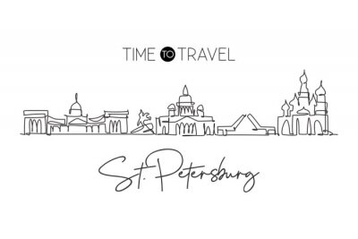 One single line drawing of city St. Petersburg skyline, Russia. Historical town landscape in world. Best holiday destination wall decor poster. Trendy continuous line draw design vector illustration