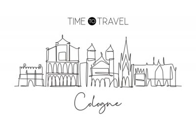 One single line drawing of Cologne city skyline. Historical city skyscraper landscape. Best destination holiday vacation home decor wall poster concept. Continuous line draw design vector illustration