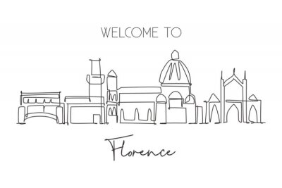 One single line drawing of Florence city skyline, Italy. Historical skyscraper landscape in world. Best holiday destination wall decor poster. Trendy continuous line draw design vector illustration