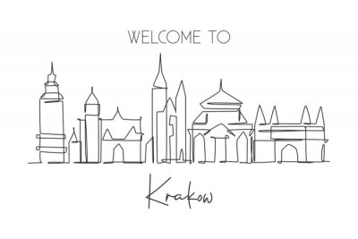 One single line drawing of Krakow city skyline, Poland. Historical skyscraper landscape postcard. Best holiday destination wall decor poster art. Trendy continuous line draw design vector illustration