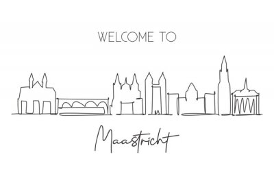 One single line drawing of Maastricht city skyline, Netherlands. Historical skyscraper landscape in world. Best holiday destination wall decor poster. Continuous line draw design vector illustration