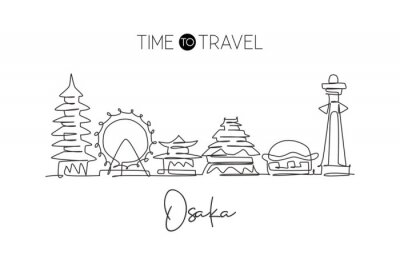 One single line drawing of Osaka city skyline, Japan. Historical town landscape. Best holiday destination home decor wall art poster print. Trendy continuous line draw design vector illustration