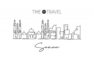 One single line drawing of Sana'a city skyline, Yemen. World historical town landscape. Best holiday destination postcard print. Editable stroke trendy continuous line draw design vector illustration