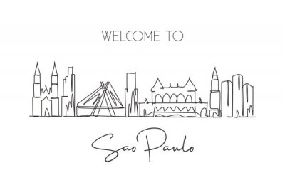 One single line drawing of São Paulo city skyline, Brazil. World historical town landscape. Best place holiday destination wall decor poster art. Trendy continuous line draw design vector illustration