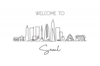 One single line drawing of Seoul city skyline, South Korea. World town landscape postcard print. Best place holiday destination. Editable stroke trendy continuous line draw design vector illustration