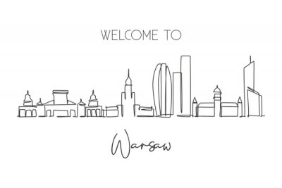 One single line drawing of Warsaw city skyline, Poland. Historical skyscraper landscape in world. Best holiday destination wall decor poster art. Trendy continuous line draw design vector illustration