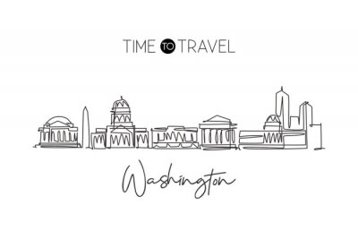 One single line drawing of Washington city skyline, United States of America. Historic landscape in the world. Best holiday destination. Editable stroke continuous line draw design vector illustration
