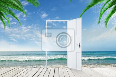 Open door on ocean background